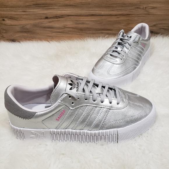 premium selection 9b1fc 6f636 NWT Adidas Samba Rose Metallic Silver Sneakers